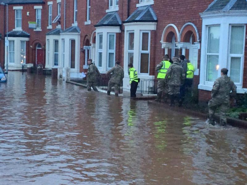 Lancaster in het donker door overstroming