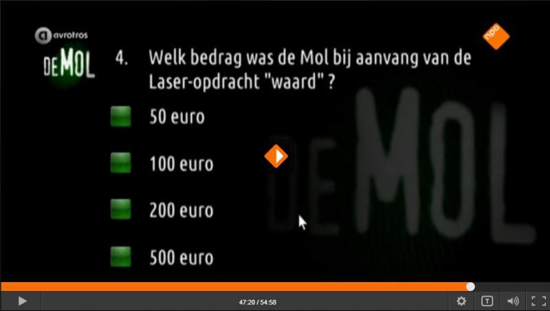 Wie is de Mol? 2016 - Aflevering 3: executietest, vraag 4: geen 150 euro?