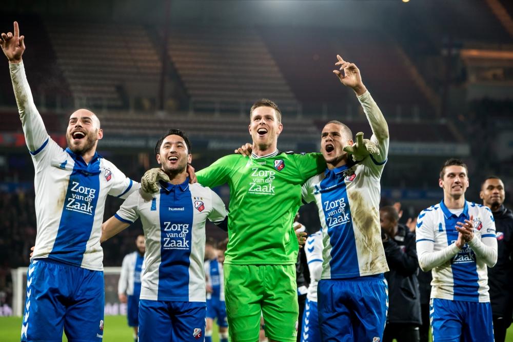 De FC Utrecht-spelers vieren feest na het behalen van de halve finale van de KNVB-beker (Pro Shots / Erwin Spek)