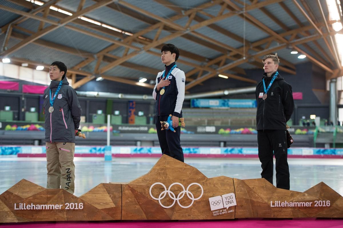 Welgeteld één keer werd de Nederlandse vlag gehesen op de Jeugdspelen in Lillehammer, met dank aan de bronzen Daan Baks (Foto: YIS/Thomas Lovelock)