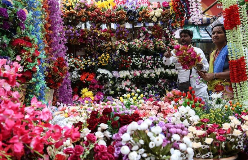 Bloemenkrans voor Indiase wildplassers