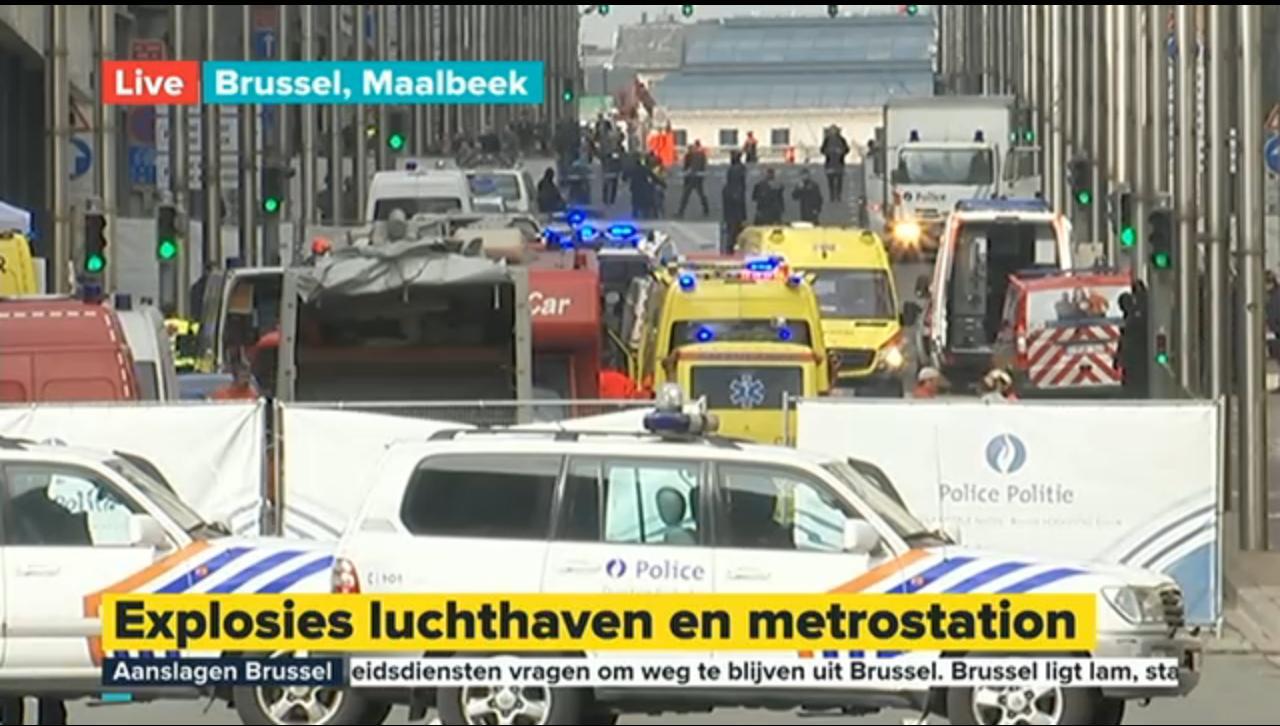 De situatie bij station Maalbeek (Foto: Screenshot Eén)