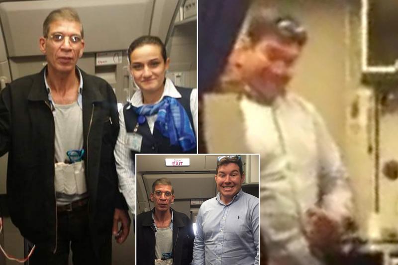 Vliegtuigkaper op de foto met passagier en stewardess