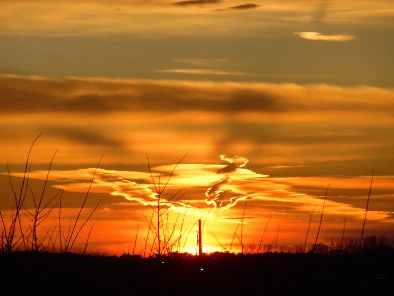 Vlammende zonsondergang in Alkmaar (Foto: Papabear)