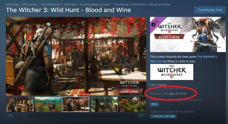 Witcher 3-uitbreiding op 30 mei