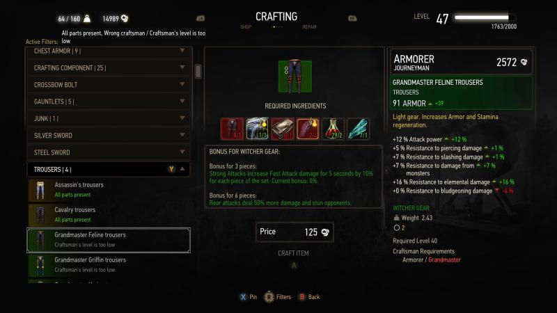 Blood & Wine - UI - crafting