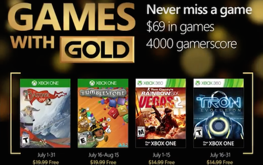 Xbox Games with Gold juli 2016