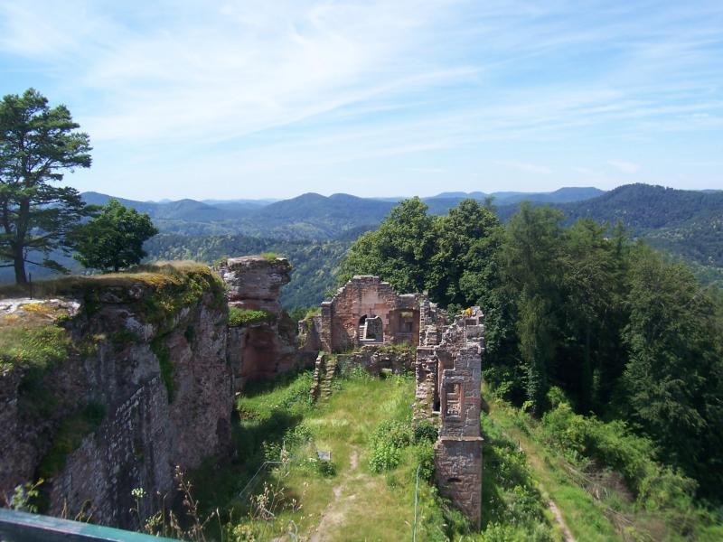 Foto's van kasteelruine Scharfeneck in Ramberg in de Pfalz (Duitsland) (Foto: qltel)