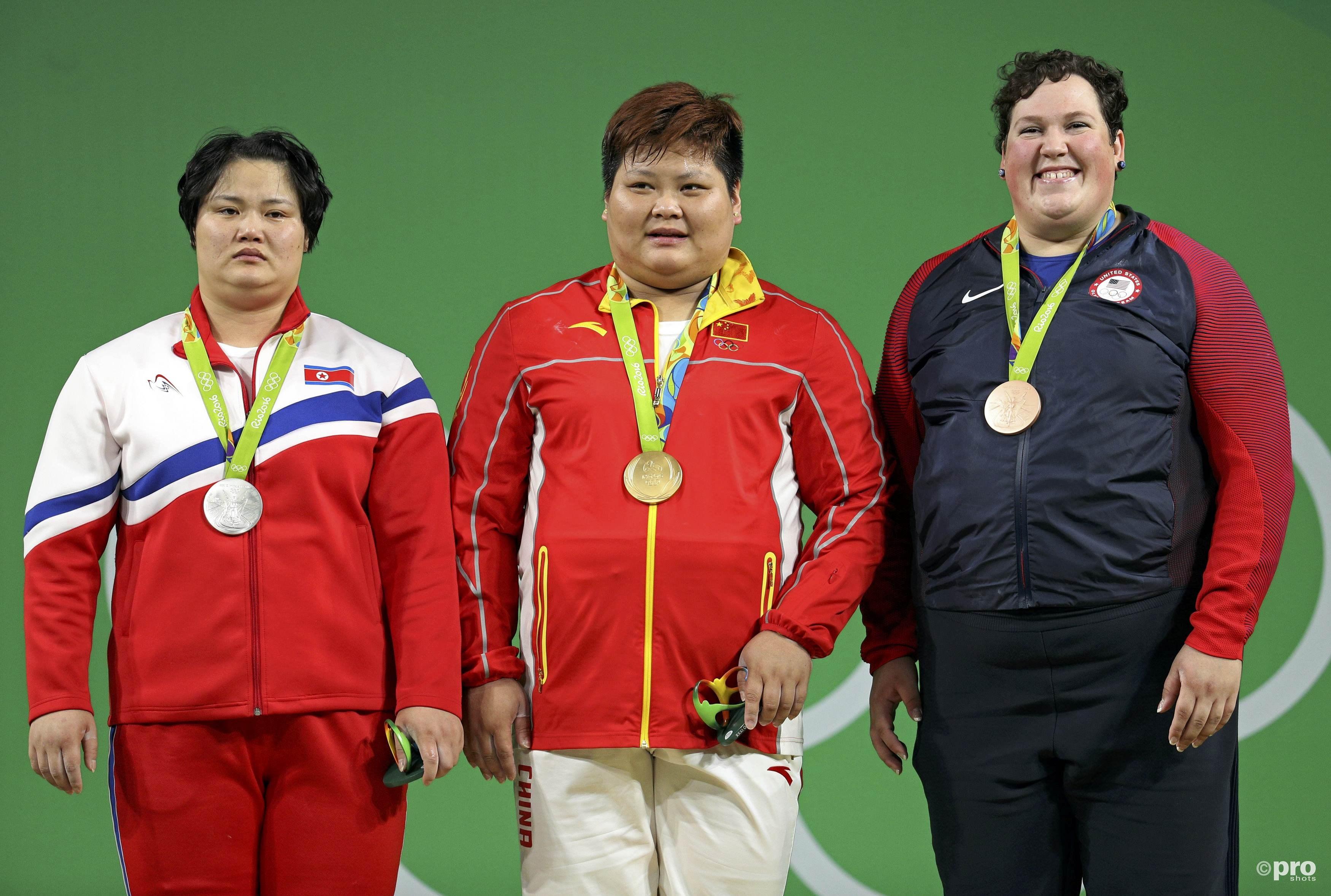 Het podium van de superzwaargewichten, met Kim, Meng en Robles (PROSHOTS/Action Images)