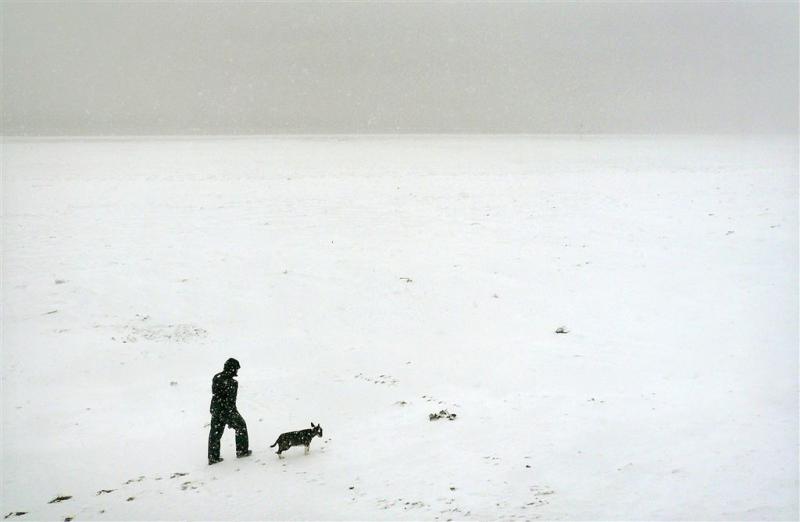 Duizenden sneeuwballen op strand Siberië
