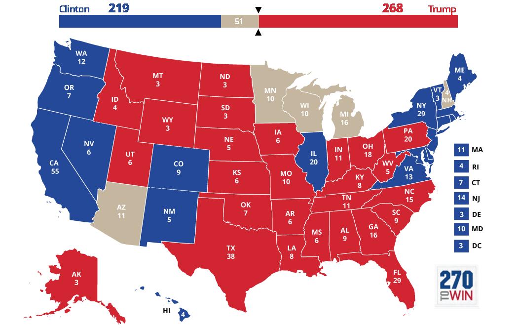 Clinton vs Trump (Bron: 270towin.com)