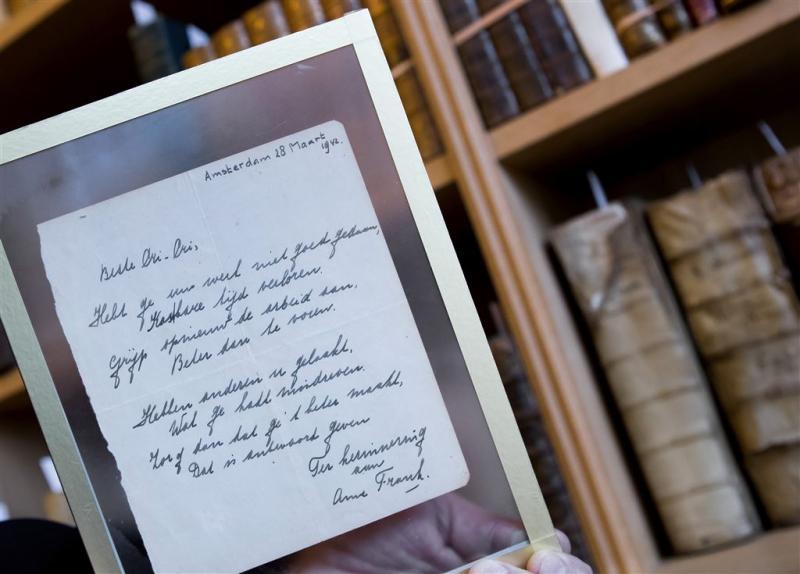 Zeldzaam gedicht Anne Frank onder de hamer