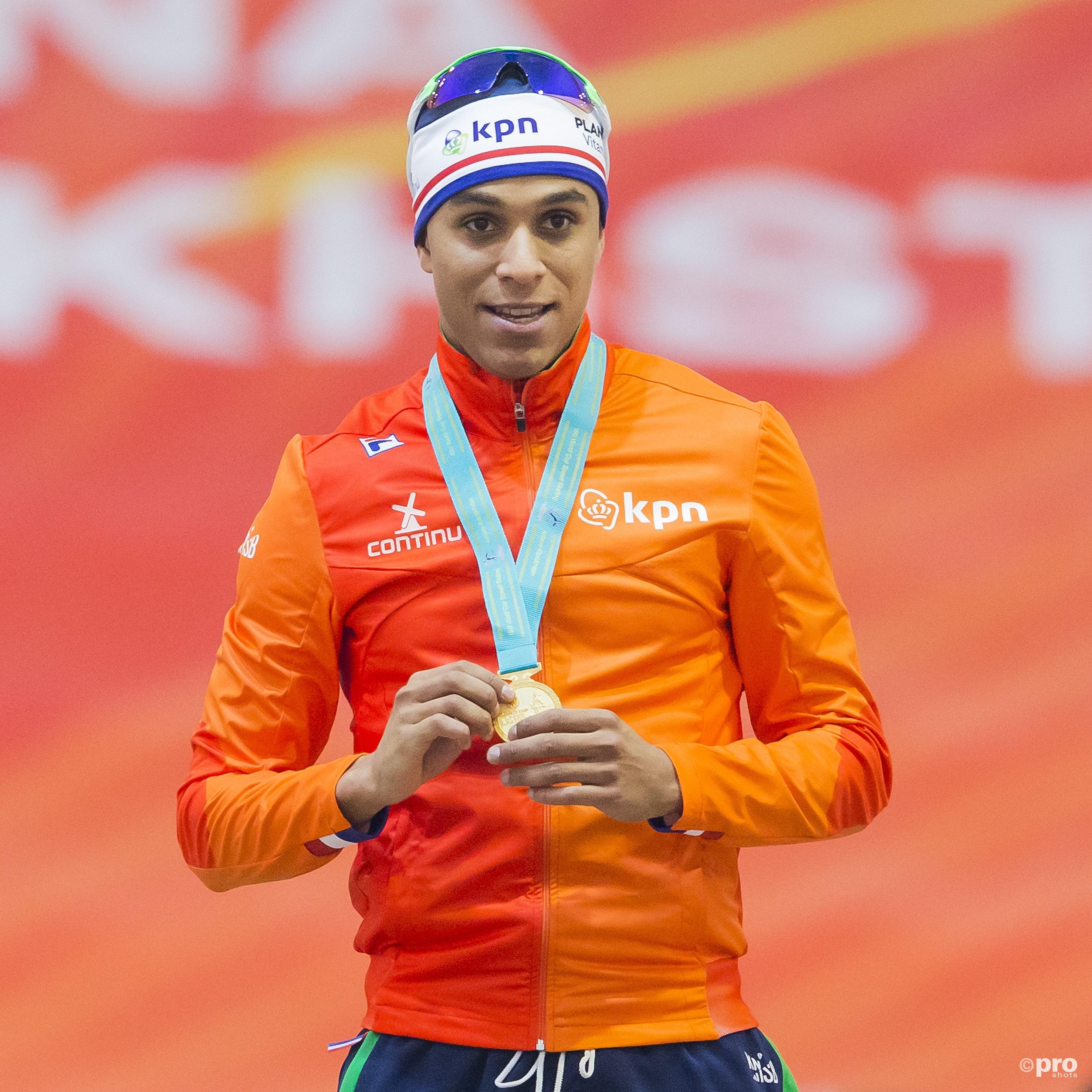Daidai Ntab pakt goud op de 500 meter. (PRO SHOTS/Erik Pasman)