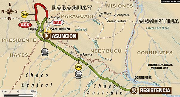 De route van etappe 1 (dakar.com)