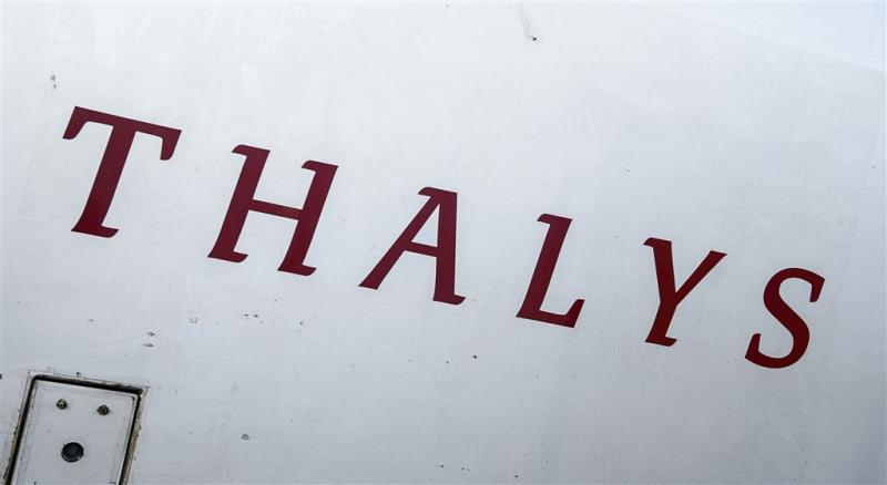 Passagiers in Thalys vast in storm