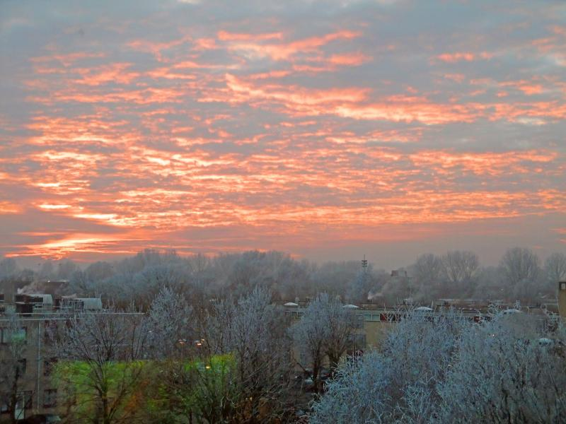 Prachtig gekleurde zonsondergang in Alkmaar  (Foto: Papabear)