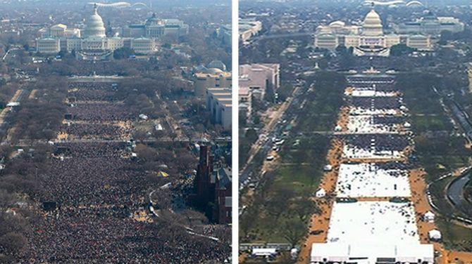 De bewuste 'foto'. Links Obama om 11:30, een half uur voor de inauguratie. Rechts Trump, 8:43, ruim 3 uur voor de inauguratie