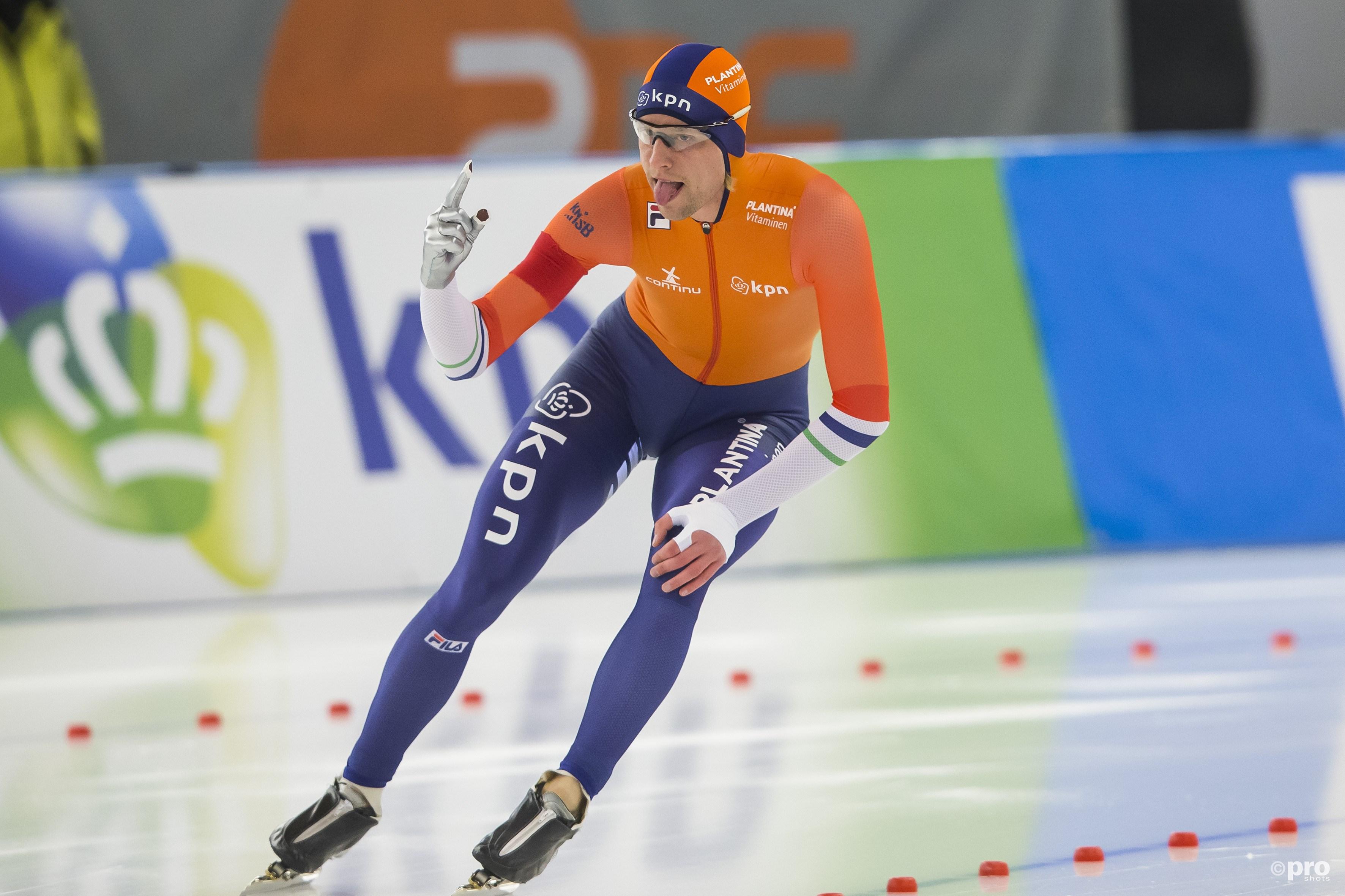 Ronald Mulder is tevreden na zijn 500 meter. (PRO SHOTS/Erik Pasman)