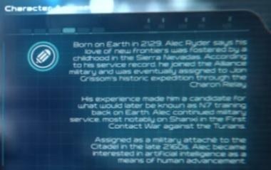 Mass Effect: Andromeda - Biografie Ryder