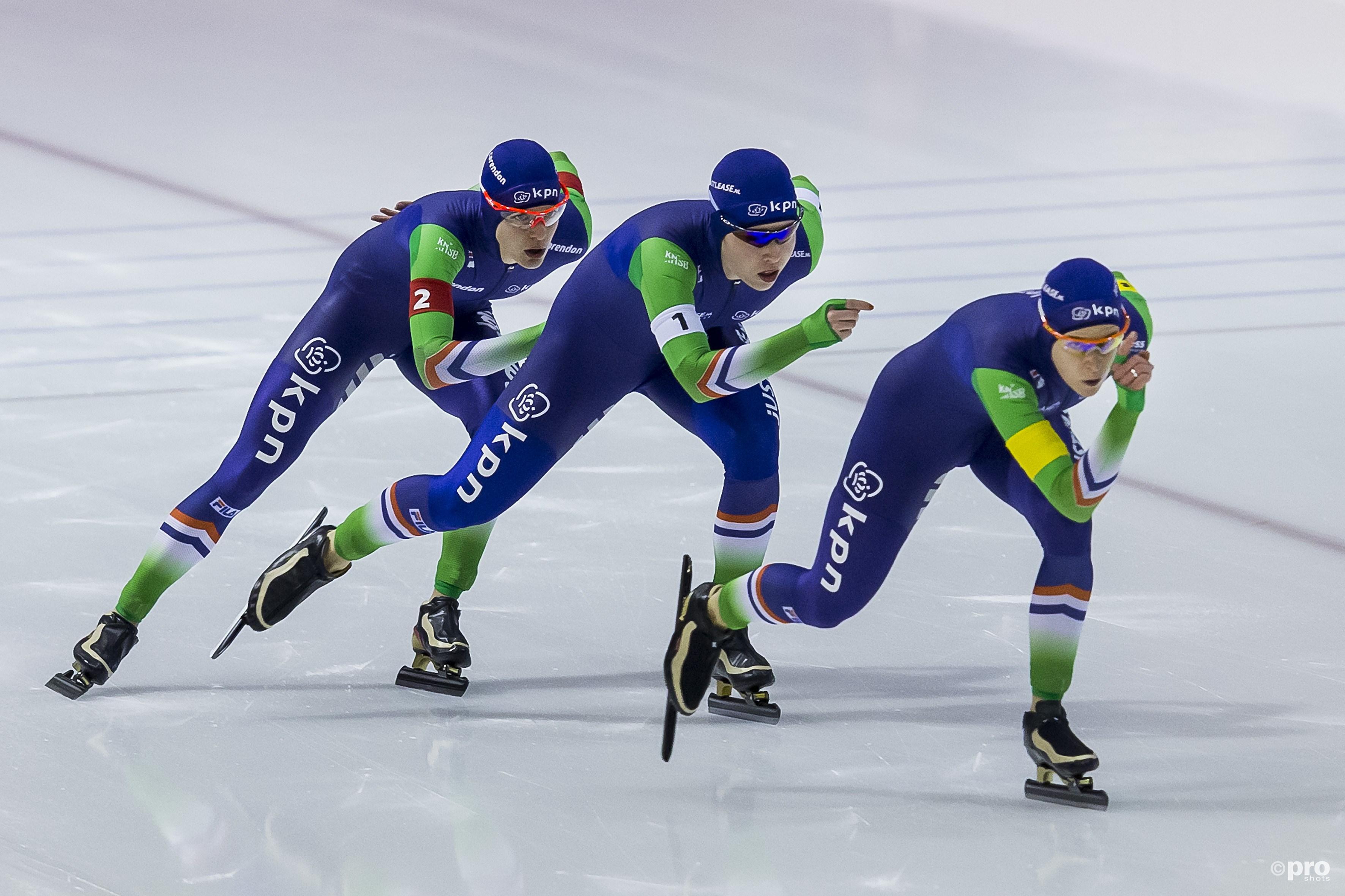 Nederland is al jaren het toonaangevende land op de ploegenachtervolging, vrijwel altijd met Ireen Wüst erbij (Pro Shots/Erik Pasman)