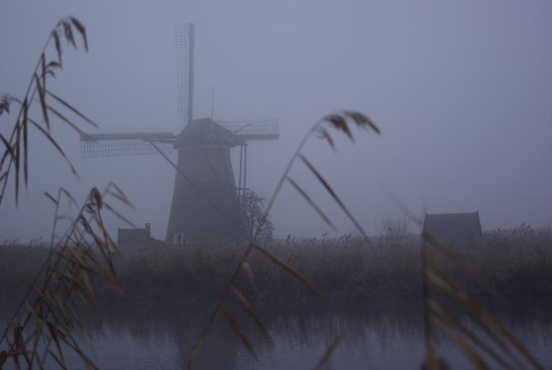 Molen in de mist (Foto: Disbatch)