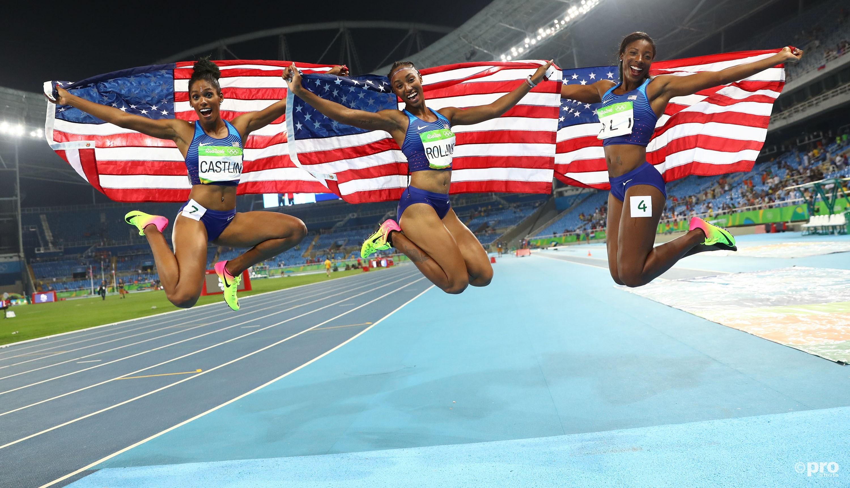 Op de Spelen in Rio veroverde Rollins (midden) het goud, terwijl Nia Ali en Kristi Castlin een uniek Amerikaans podium compleet maakten (Pro Shots/Action Images)