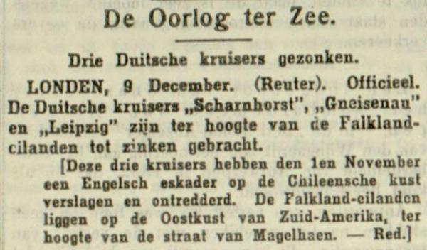 Uit de Leeuwarder Courant van 10 december 1914