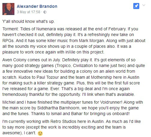 Alexander Brandon facebookpost