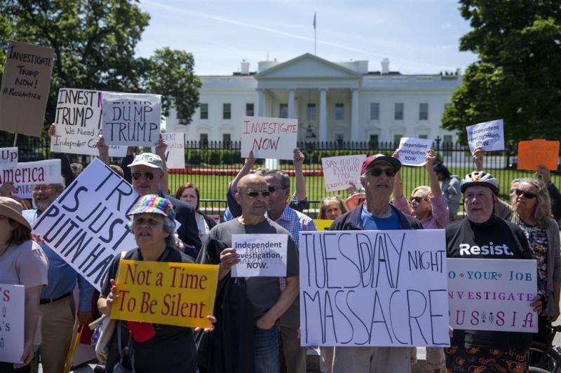 Betoging voor Witte Huis tegen ontslag Comey