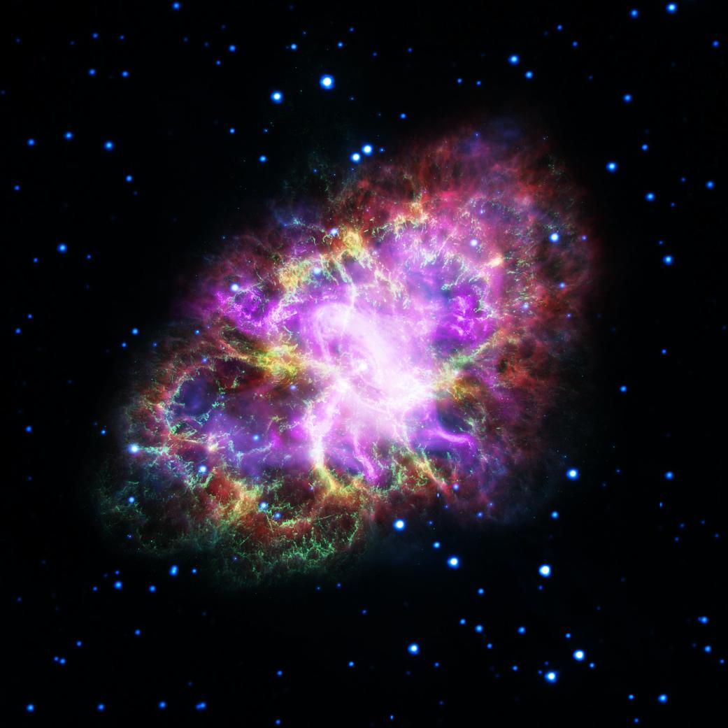 De nieuwe foto van de Krabnevel (Foto: NASA, ESA, NRAO/AUI/NSF and G. Dubner (University of Buenos Aires))