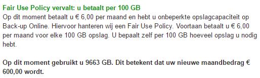 KPN Backup-Online doet belachelijk (screenshot: Tweakers.net)