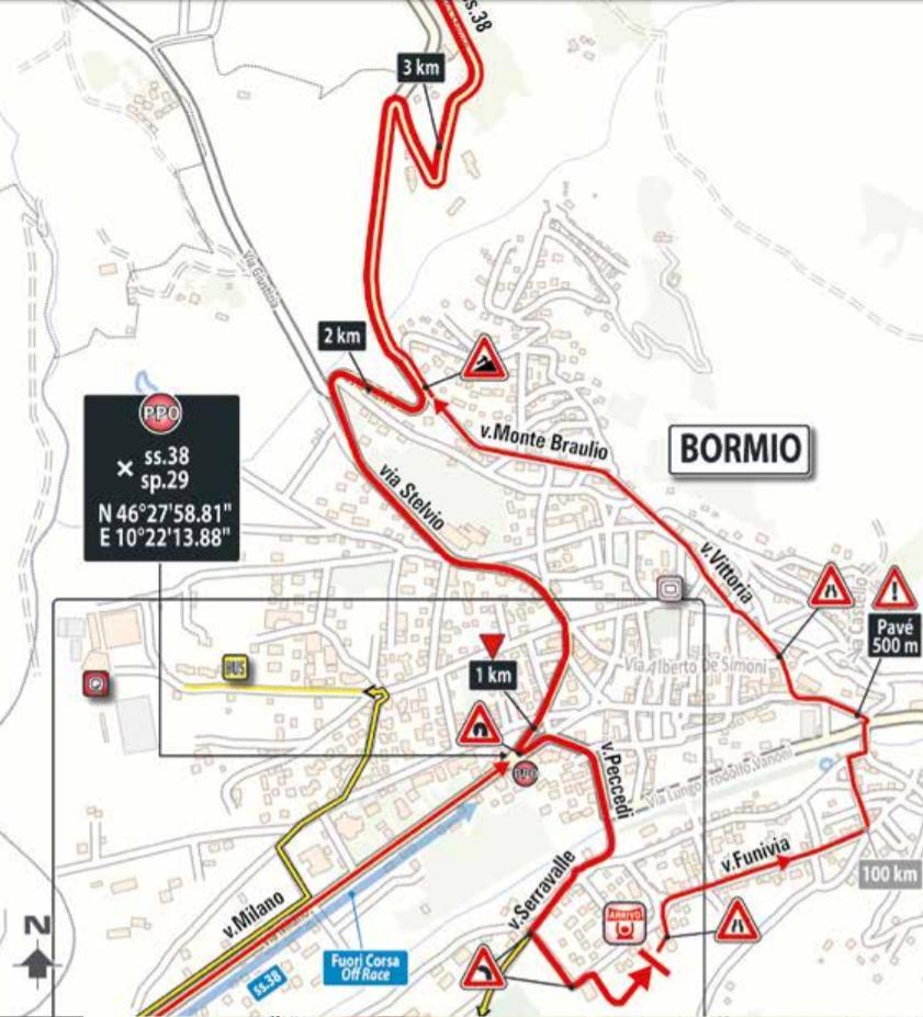 De slotkilometers van vandaag (Bron: Giro d'Italia)