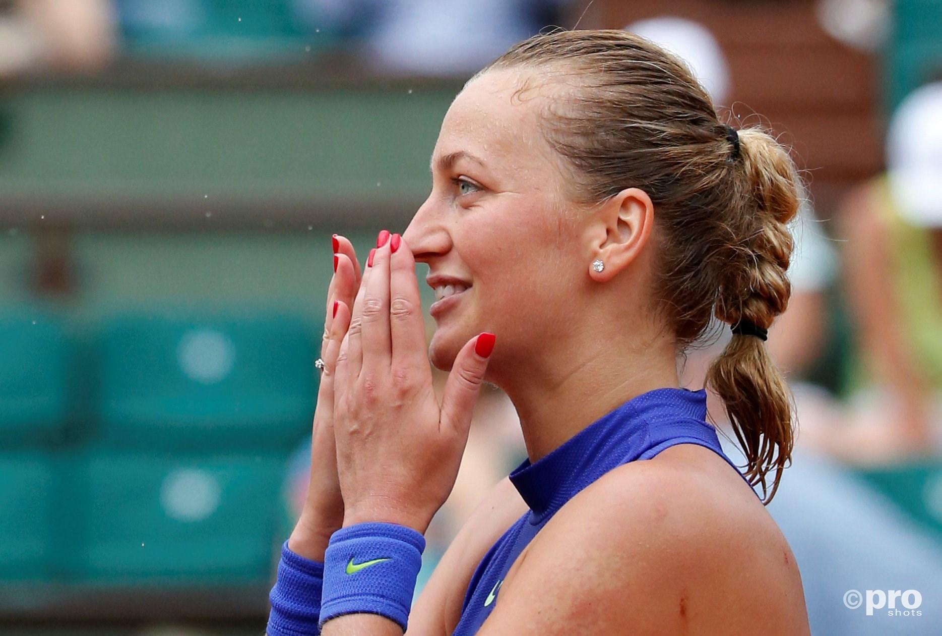 Kvitova blij met zege in Parijs. (PRO SHOTS/Action Images)