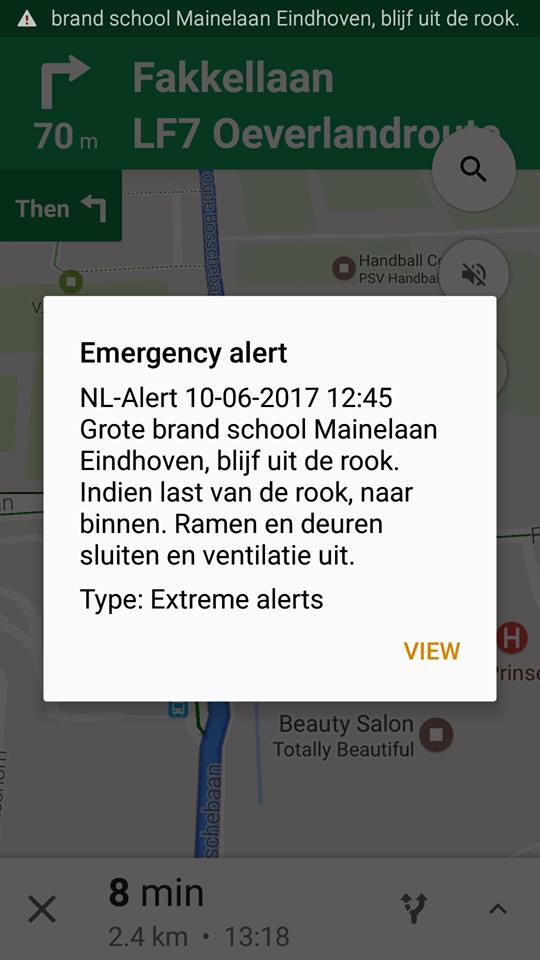 NL-alert vanwege brand in Eindhoven (Foto: Webhawk)