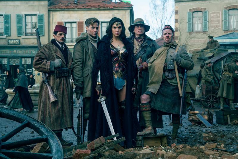 Wonder Woman: Said Taghmaoui, Chris Pine, Gal Gadot, Eugene Brave Rock, Ewen Bremner