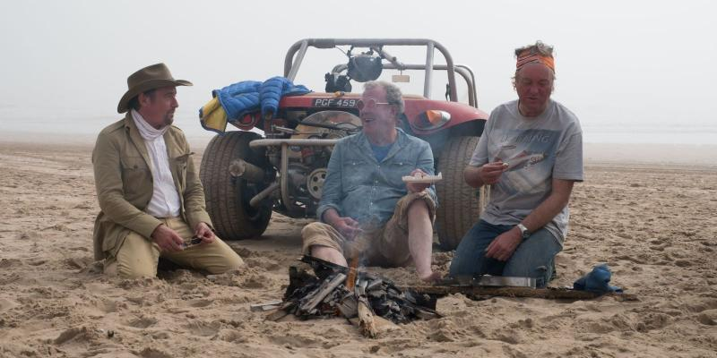 Richard Hammond, Jeremy Clarkson en James May in Namibië