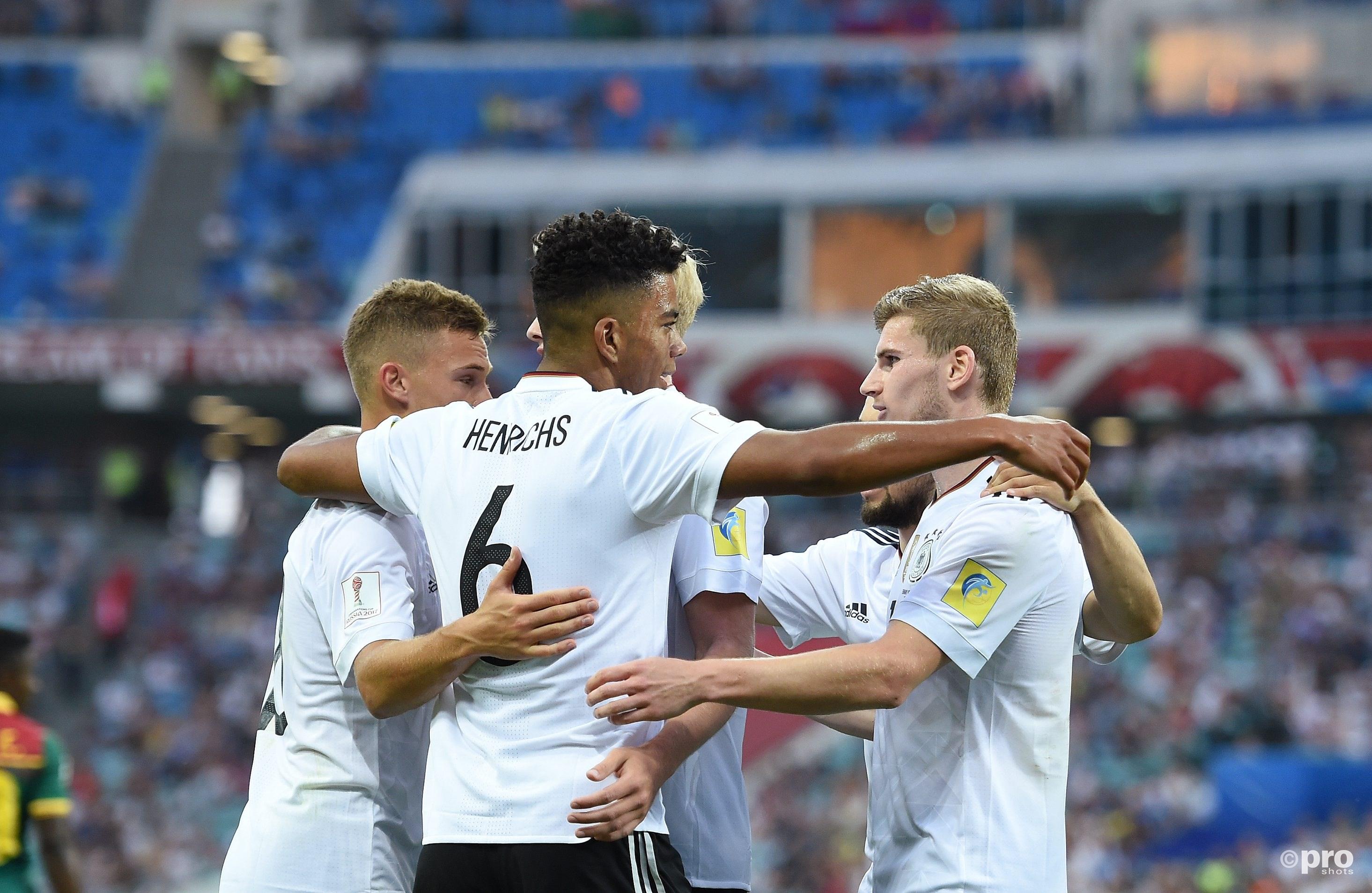 oshua Kimmich, Benjamin Henrichs, doelpuntenmaker Timo Werner vieren de 3-1 (PRO SHOTS/Witters)