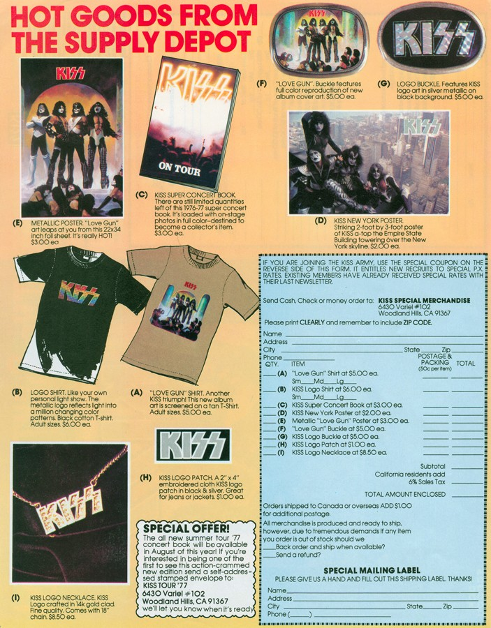 Kiss - Love Gun merchandise 1