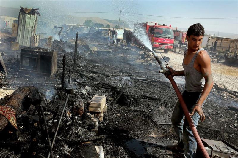 Brand in vluchtelingenkamp Libanon