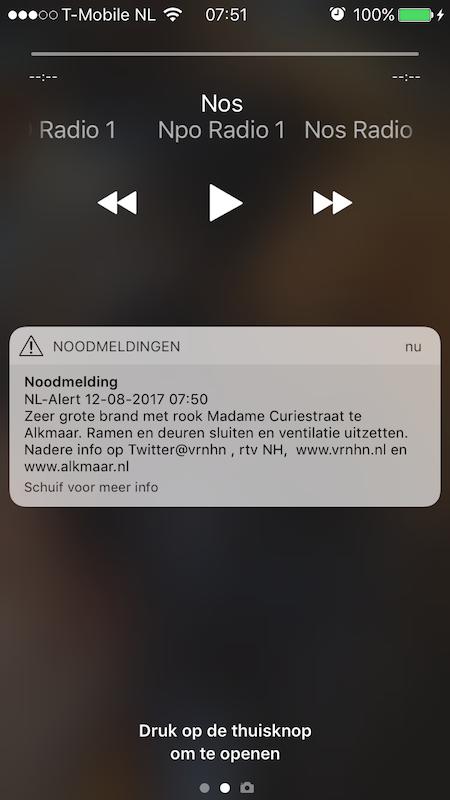 NL-Alert brand Alkmaar (Screenshot: FritsFlits)