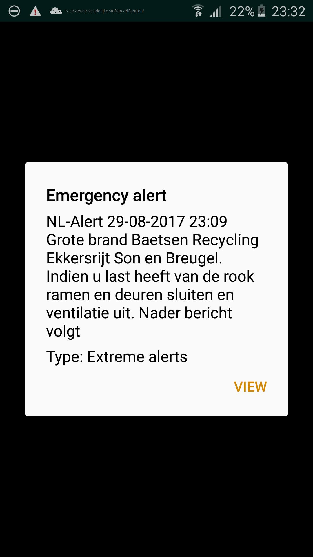 NL-alert in verband met grote brand bij Eindhoven