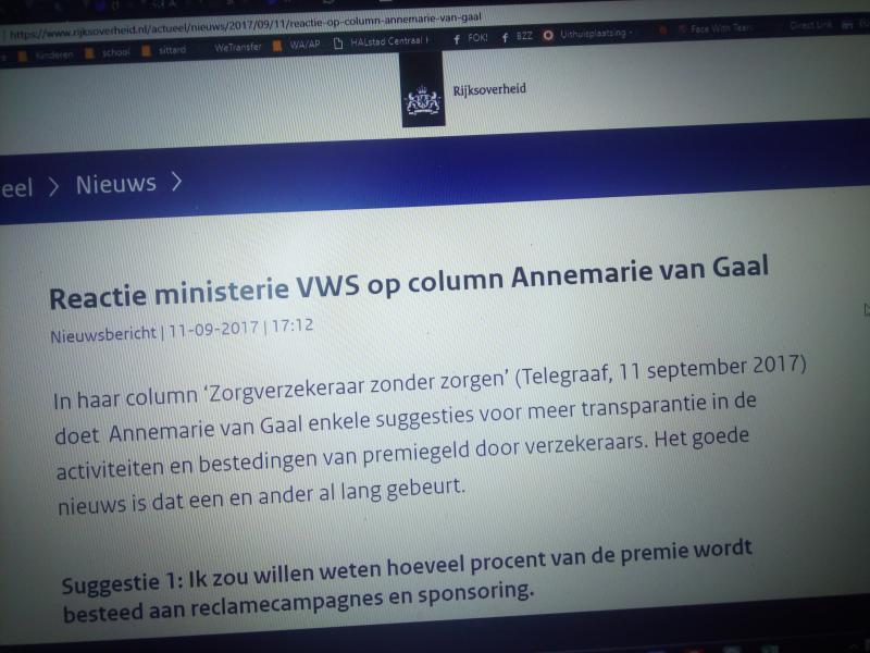Reactie ministerie VWS op column Annemarie van Gaal