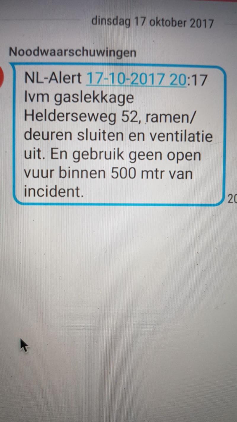 NL-Alert gaslek Helderseweg