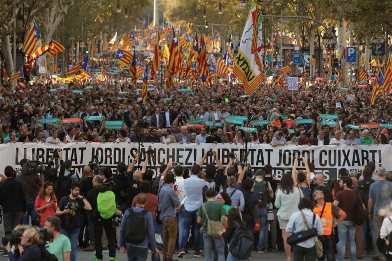 Massale betoging in Barcelona