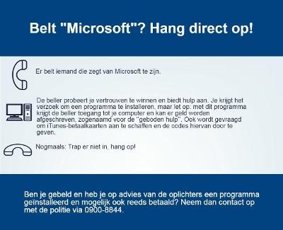 Oplichting door Microsoft laait weer op (Foto: Politie.nl)