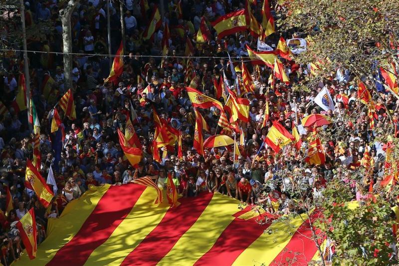 Betoging voor Spaanse eenheid in Barcelona