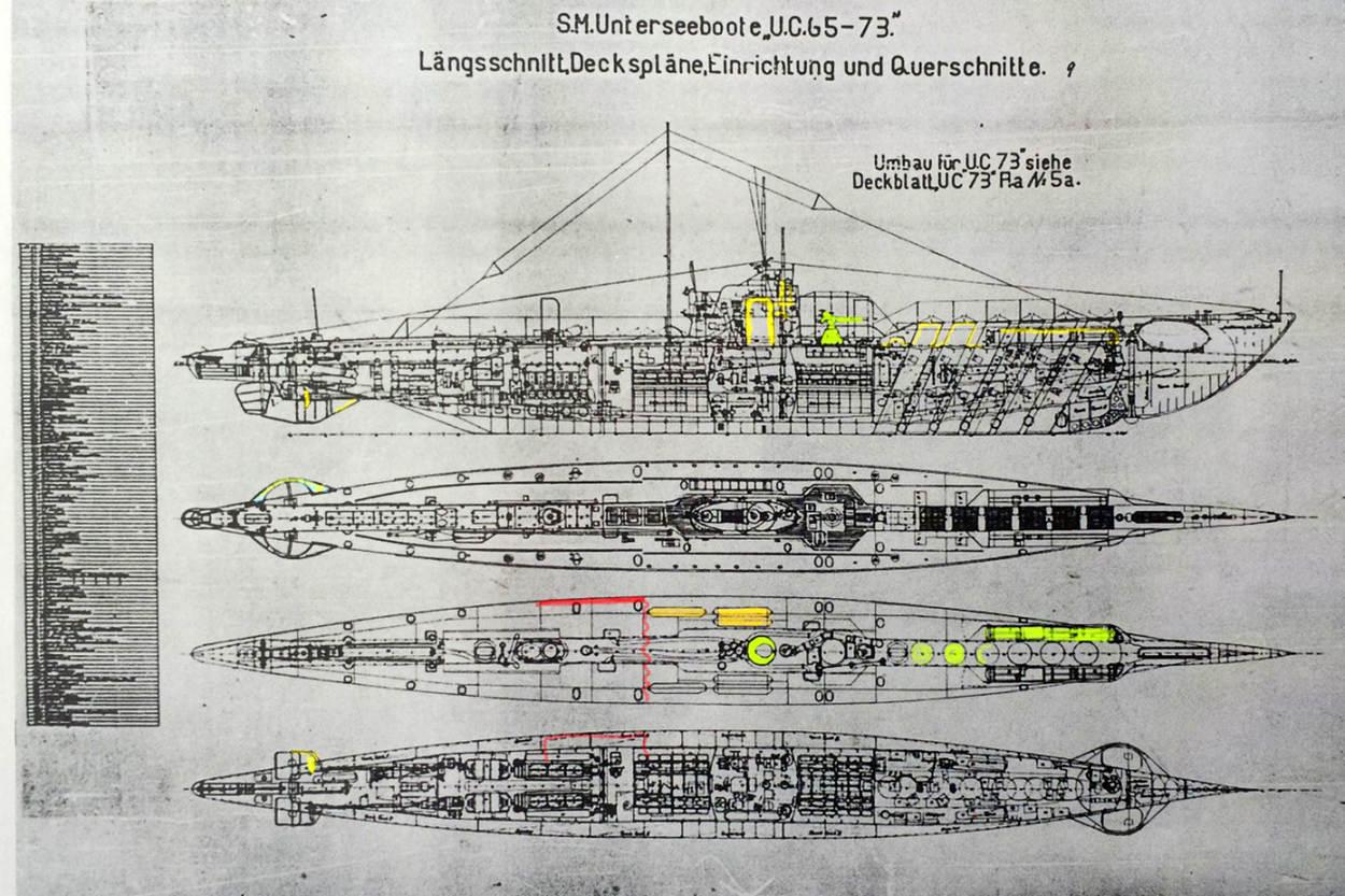Beeld: De bouwtekening van het onderzeeboottype waartoe de UC-69 behoort.