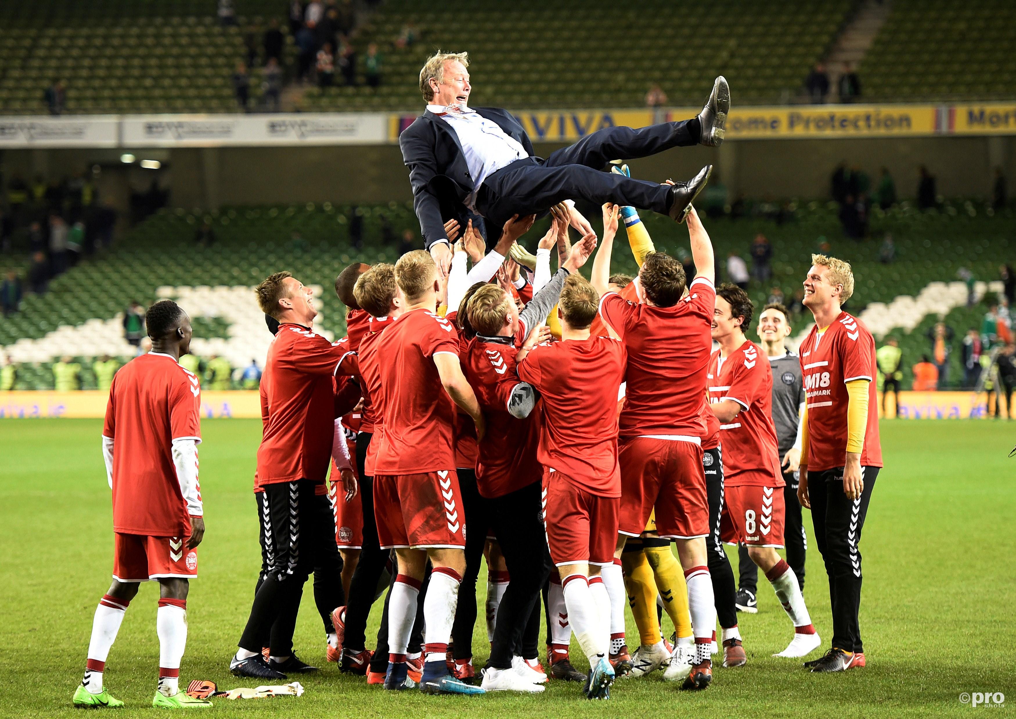Feest bij het Deense team. (PRO SHOTS/Action Images)