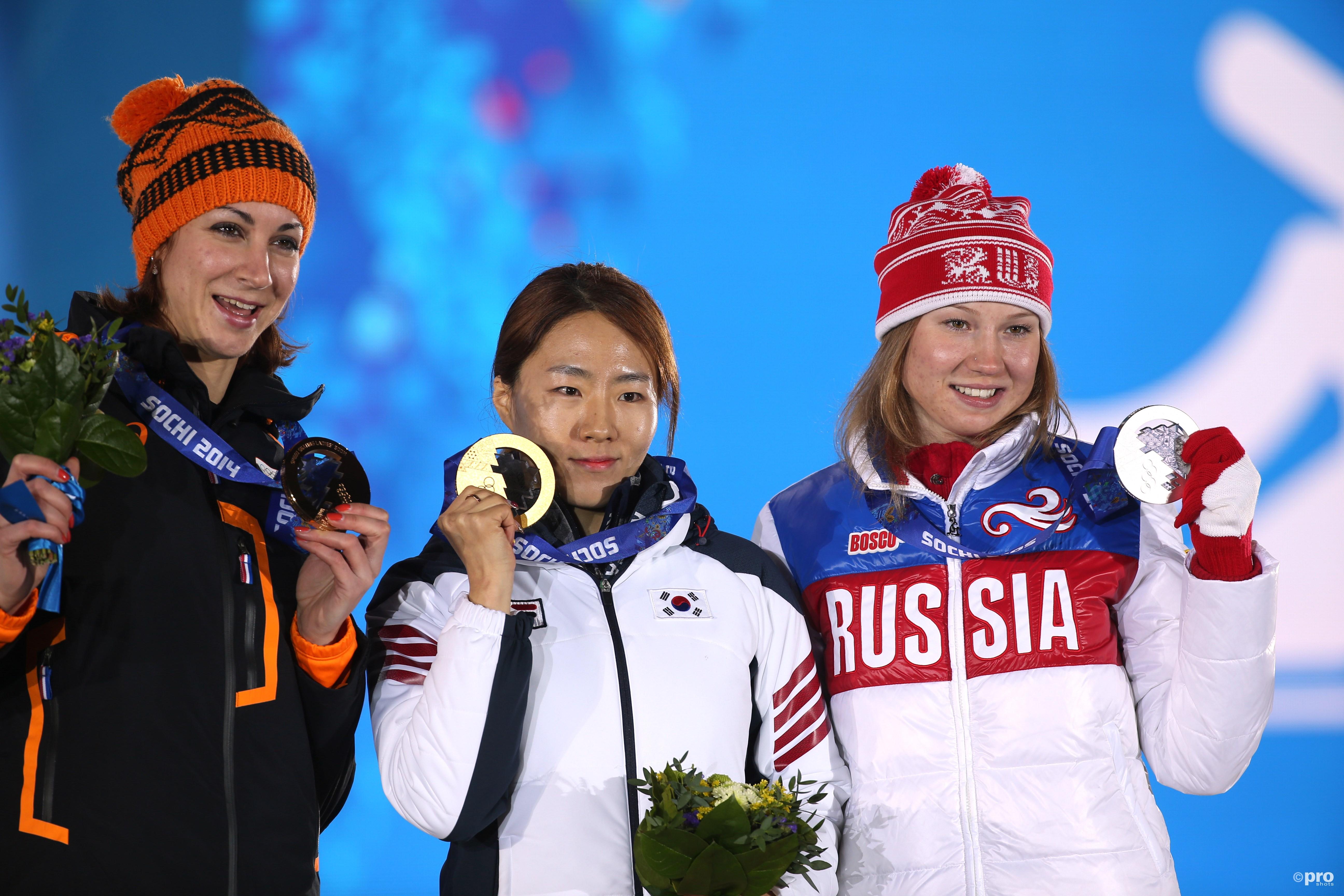 Het podium in Sochi. Fatkulina wordt geschrapt, Boer krijgt zilver. (PRO SHOTS/Geoa)