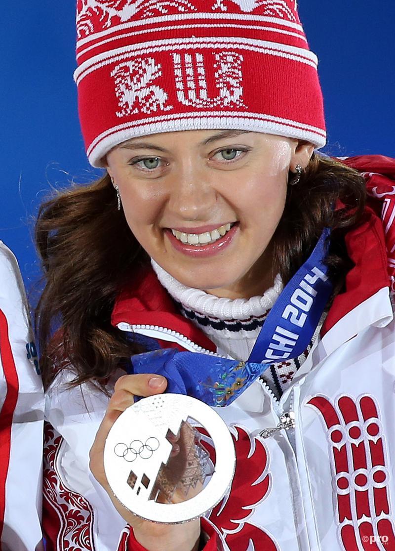 Vilukhina met haar medaille die ze nu moet inleveren (Pro Shots / Gepa)